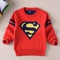 Meninos Crianças camisola hedging quente em torno do pescoço de outono e inverno 2016 novo Superman bebê da camisola tops crianças