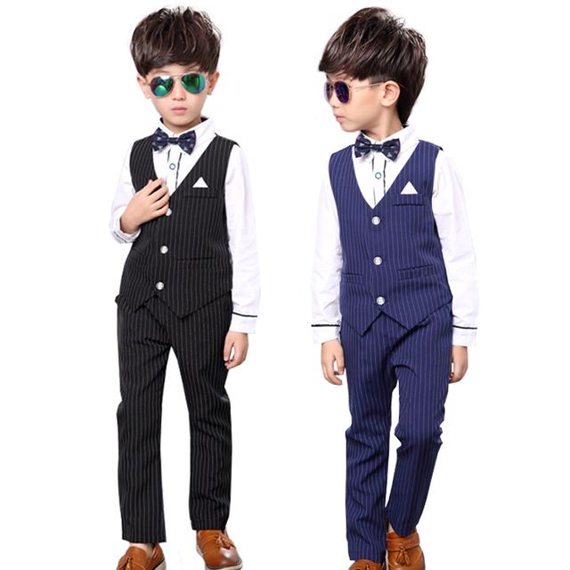 Conjuntos de Roupas meninos terno Colete e Calça Crianças Smoking Página menino Roupas Blazer e ternos De Casamento Azul