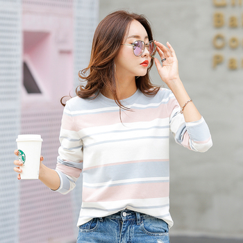 New 2020 Autumn Female T-shirt Long Sleeve Striped Women's T-shirt Cozy Cotton T Shirt Winter Tops Tees Brand Fashion Ropa Mujer