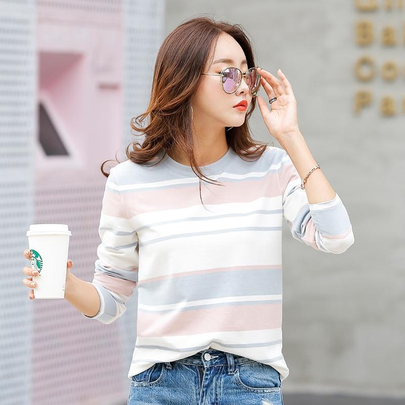 Novo 2019 Outono Feminino T-shirt de Manga Comprida Listrada T-shirt Cozy Camiseta de Algodão das Mulheres de Inverno Cobre T Marca de Moda camisetas