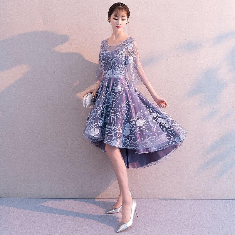 Красивые платья для выпускного вечера Emily, 2019, короткие, с круглым вырезом, с коротким рукавом, на молнии, тюлевые, длиной до лодыжки, вечерние платья для девочек