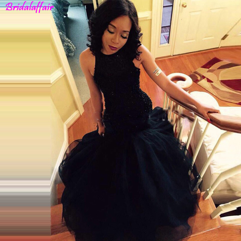 Modern Sex Black Mermaid   Prom     Dresses   Long 2019 Luxury Crystal Beaded Evening   Dresses   Lace Evening Wear Pageant Party Gown