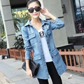 S-2XL,3XL,4XL Plus Size Women Clothing Tops 2016 Light Blue Casual Spring Jacket Denim Vintage Ripped Jeans Coat Hole