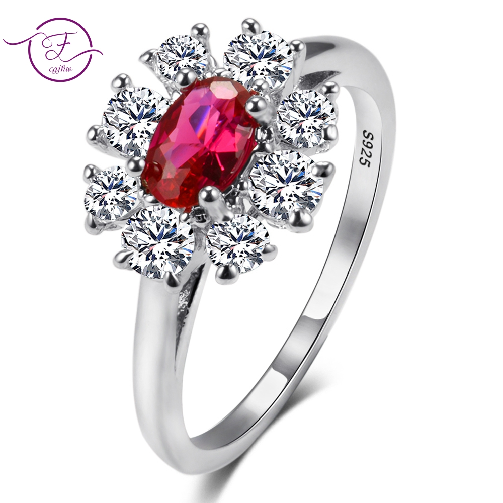 Top Sale Red Ruby Gemstone Flower Rings For Women's 925 Sterling Silver Vintage Engagement Jewelry Gifts Wholesale
