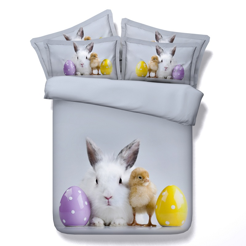 3D Rabbit chick egg bedding set duvet cover bed sheet bedspread sets linen quilt bedsheet Cal king queen size twin single 4pcs in Bedding Sets from Home Garden