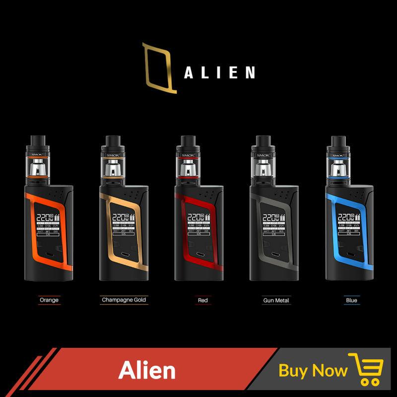 Prix pour D'origine 220 W SMOK Alien cigarette électronique mod avec Smok TFV8 bébé Réservoir Atomiseur SMOK Alien kit V8 Baby-T8 V8 Baby-Q2 Core