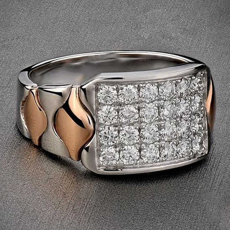 Мужские кольца простые одиночные золотые серебряные цвета кубические