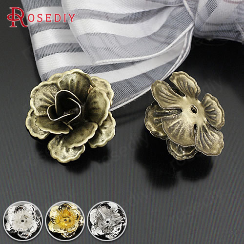 (24110)20PCS 21x10MM Antique Bronze Iron 3D Flowers Beads Caps Spacer Diy Jewelry Findings Accessories Wholesale