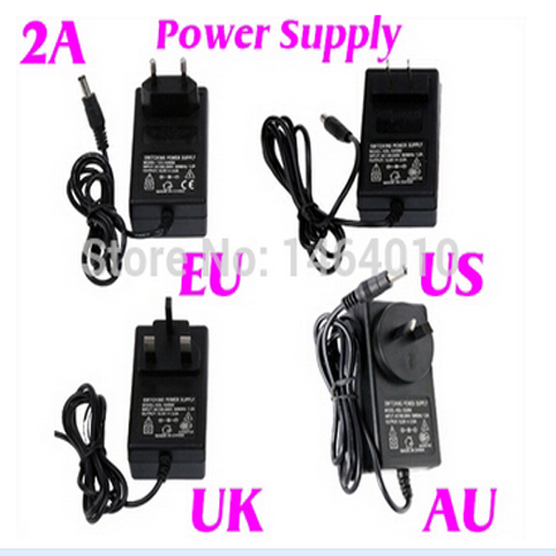 100CM 2A 12V US EU UK AU Cord Plug Power Supply Transformer For RGB White 5050 3528 LED  ...