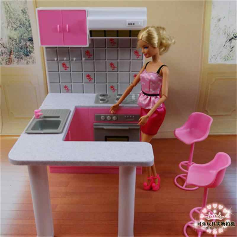 For Barbie Doll Furniture Accessories Plastic Toy Dream Kitchen furniture Kitchenware Cabinet Stoves Play House Gift Girl DIY