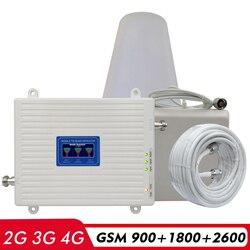 2G 3G 4G Tri Band Ripetitore GSM 900 + DCS LTE 1800 (B3) + FDD LTE 2600 (B7) Del Cellulare Del Segnale Del Ripetitore 900 1800 2600 Amplificatore di Segnale Set
