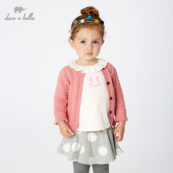 DBM10847 dave bella autumn infant baby girls fashion floral solid cardigan kids toddler coat children cute knitted sweater image