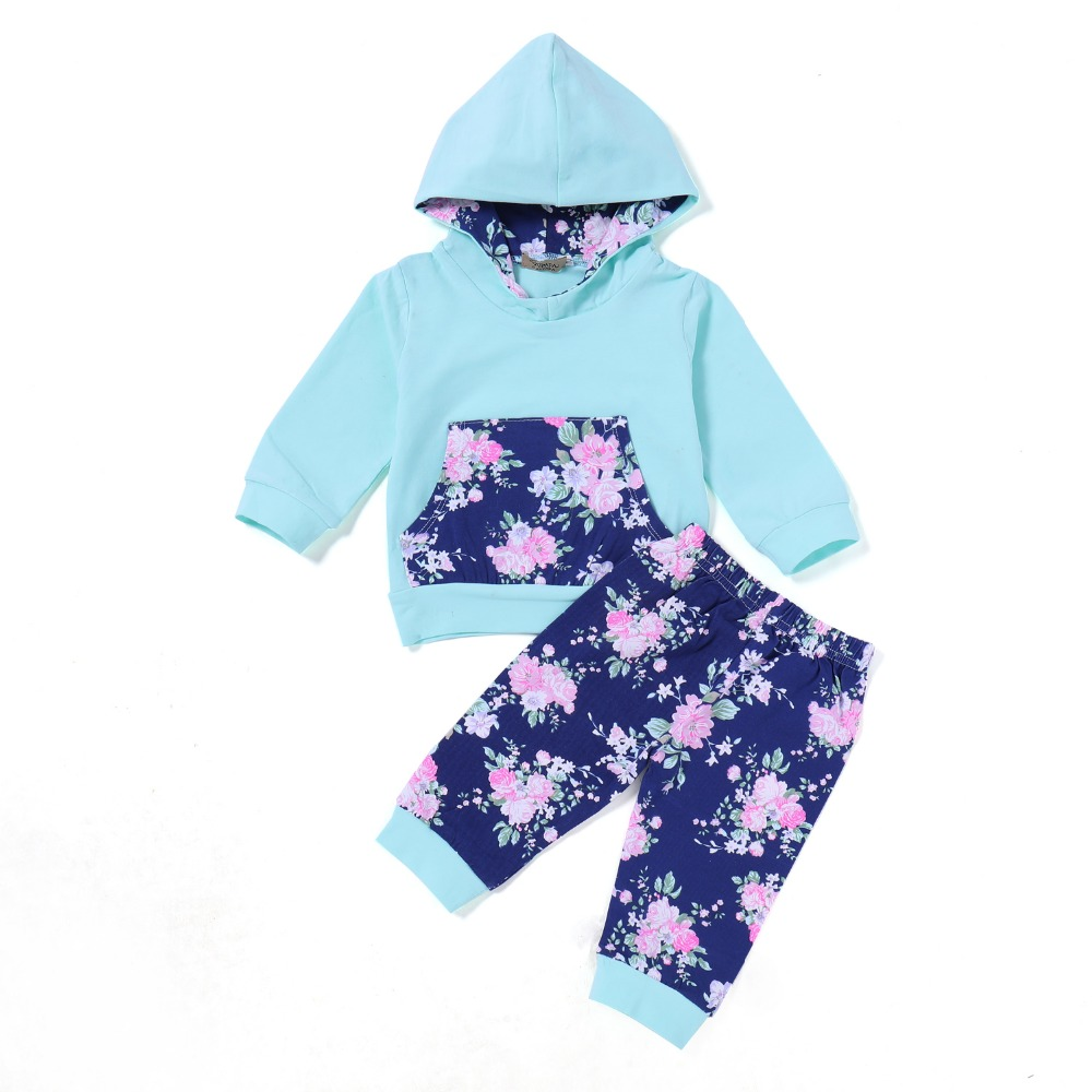 Baby Clothing Autumn Winter Toddler Baby Boys Tops Floral Hoodie Pants Home Outfits 2Pcs Set Clothes 0-24 M 2018