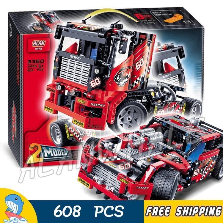 608 pièces 2in1 Technic avancé édition limitée Set camion de course 3360 modèle blocs de construction briques garçons jouets compatibles avec Lego