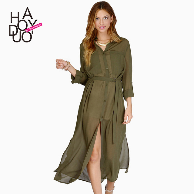 0ffa95924a Military style vintage long sleeve chiffon long loose casual shirt dress  sexy see through army green chiffon maxi dress XS-XXL