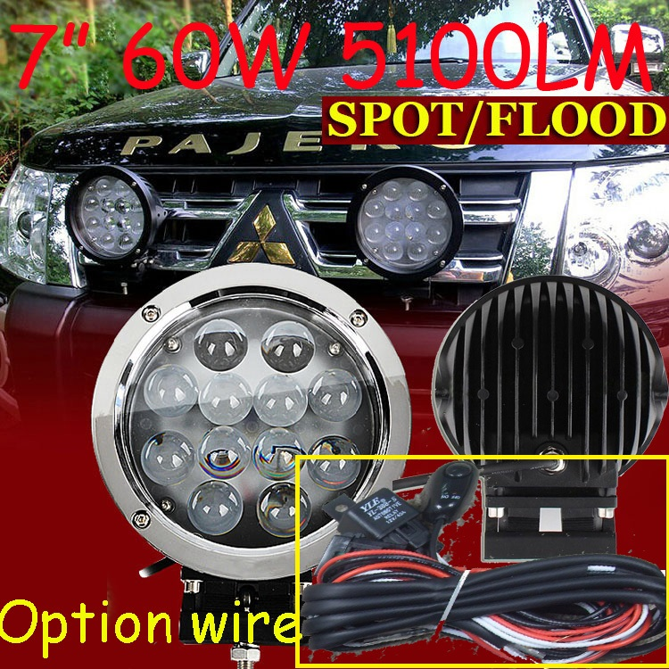 Free DHL/UPS Ship,7 60W 5100LM 10~30V,6500K,LED working light;Free ship!Optional wire;motorcycle light,forklift,tractor light