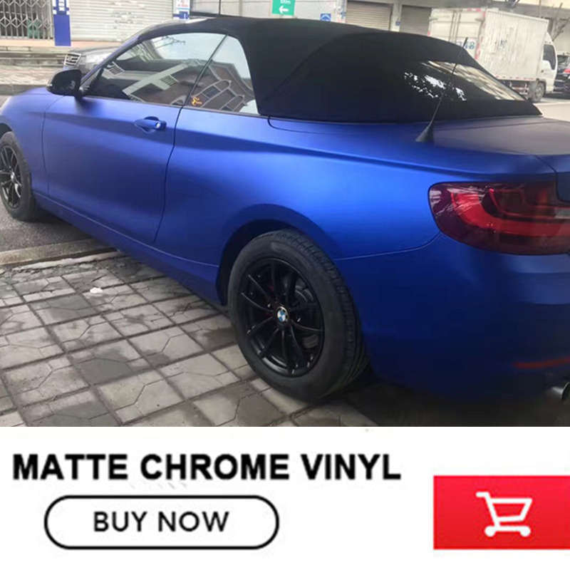 Classic Deep blue Matte Chrome Vinyl matte vinyl Car Wraps Sticker Color Change film Car Sticker With Bubble free 12 Color 152cmx18m premium polymeric pvc light blue ice matte chrome vinyl film car styling wraps whole body stickers with air channel