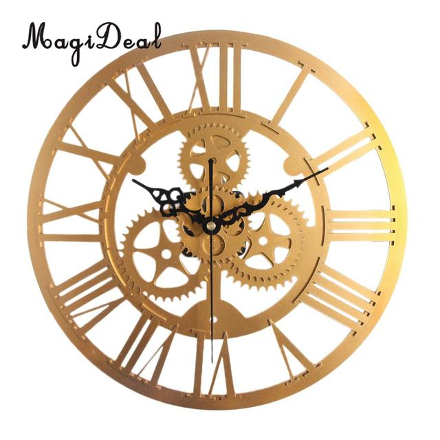 magideal 35cm round gear wall clock roman numerals open face modern