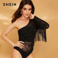SHEIN Black Sexy One Shoulder Fringe Trim Geometric Mesh Lace Bodysuit Women Spring Skinny Mid Waist Long Sleeve Bodysuit