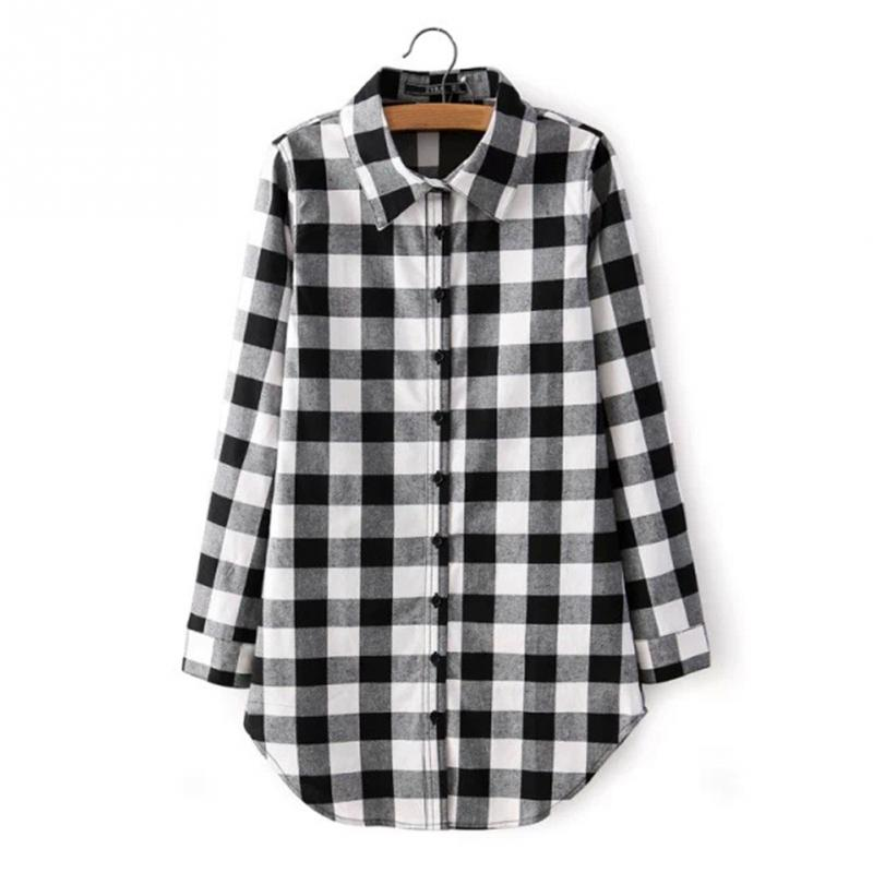 Flannel Shirt Women Black And Red Ladie Top Casual Blouse