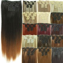 Pcs/set hairpiece false piece extension synthetic extensions clip in straight hair