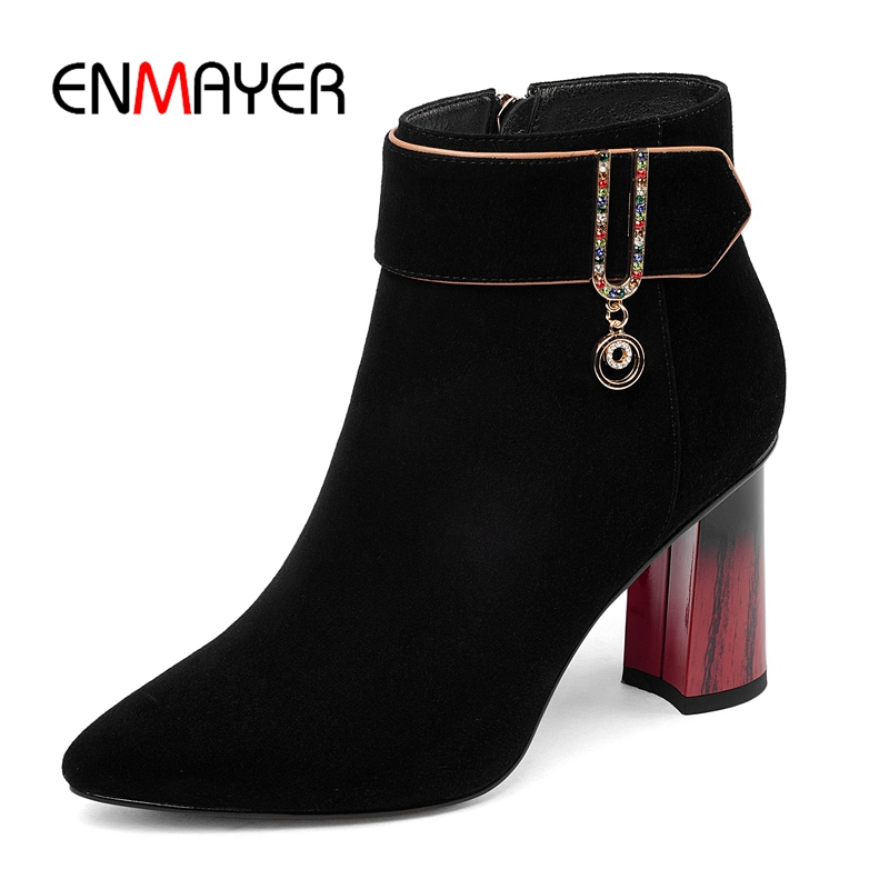 ENMAYER   Pointed Toe  Basic  Zip  Kid Suede  Ankle  Women Boots  Boots Women  Botas Mujer Size34-43 ZYL1768ENMAYER   Pointed Toe  Basic  Zip  Kid Suede  Ankle  Women Boots  Boots Women  Botas Mujer Size34-43 ZYL1768