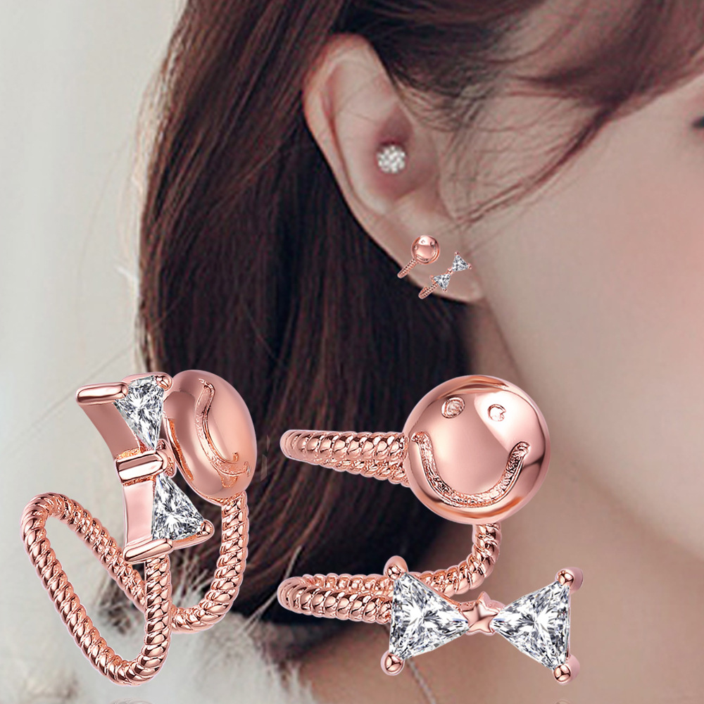 Earring Jewelry Crystal Women with CZ Bowknot-Design Ear-Cuff Clip-On for Cartilage Non-Pierced