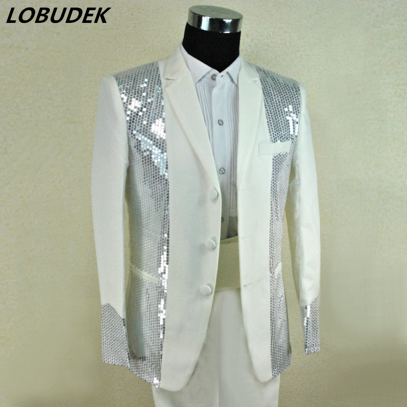 male costume fashion men's clothing Shining Sequins white suits Nightclub Prom Stage Singer Dancer Star Chorus Stage Outfit