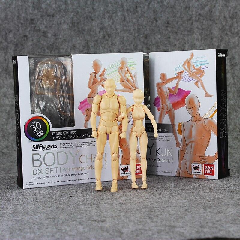 2pcs/lot Figma BODY Archetype He She skin color 13cm Ferrite PVC Action Figure Figma Figure Model Doll archetype transparent ver she