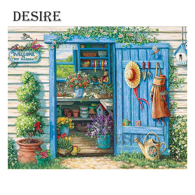 Desire Diamond Painting Cross Stitch Garden Cottage Scenic Hat Square Drill Picture Rhinestone DIY Diamond Embroidery PT1394