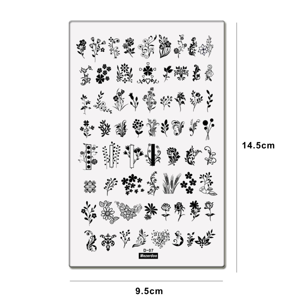 1Pc Nail Stamping Plates Flower Geometry Nature Series Nail Template Stamp Image Nail art Stamp Plate Manicure Stencil Tools D07 in Nail Art Templates from Beauty Health