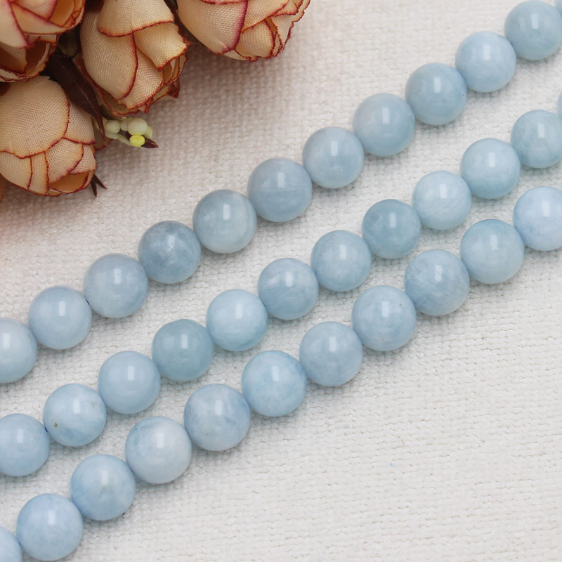 Wholesale Natural Aquamarines Round Beads 15100% Natural Stone Guarantee,For DIY Jewelry Making !wholesale for all items!