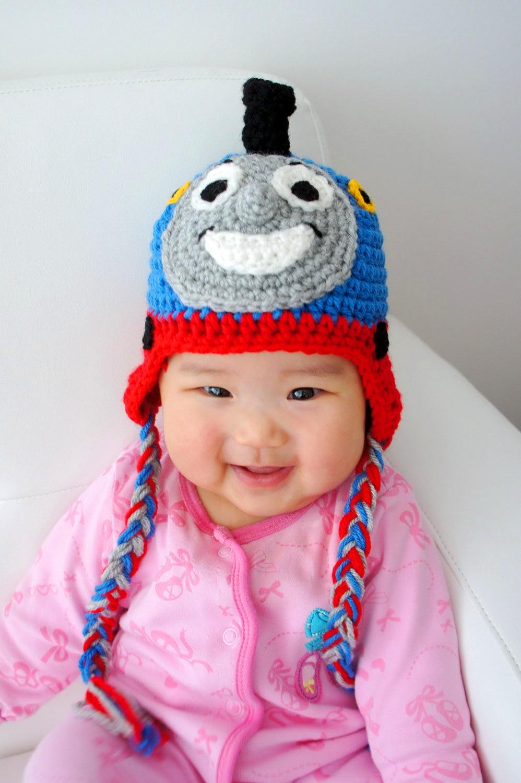 Envío libre, Thomas sombrero, ganchillo tren BEANIE, niño, tamaño ...
