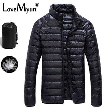 2019 automne hiver bouffant canard vers le bas veste Ultra léger hommes 90% manteau imperméable vers le bas Parkas mode hommes col manteau d'extérieur
