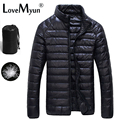 Casaco de inverno Jaqueta de Pato Para Baixo Homens ultra-leves 90% mens Moda À Prova D' Água Para Baixo Parkas Outerwear casaco 5011