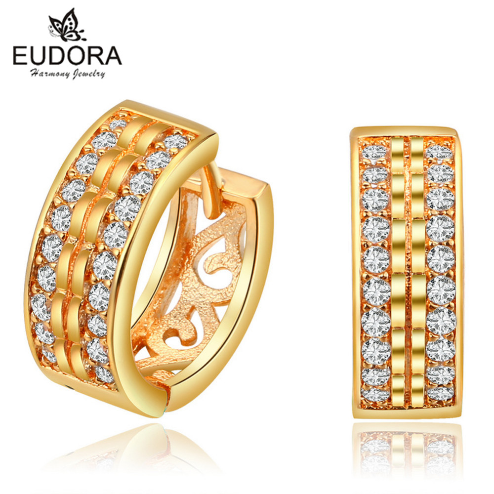 New Fashion Gold Color Hoop Earrings Classic Style Small Hoop Earrings For  Women High Quality Cubic Zirconia Earrings Jewelry