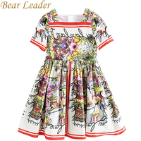 Bear Leader Girls Dress 2017 New European And American Style Kids Short Sleeve Flower Pattern Party
