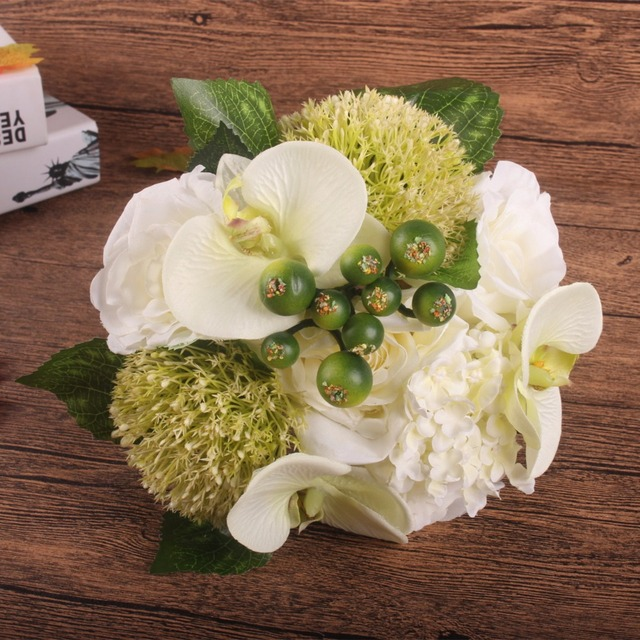 Silk flower wedding bouquet Rose Orchid Berry Artificial flowers ...