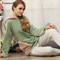 Las mujeres ropa de Dormir Camisón De Pijama de Invierno Con Una Capucha de lana de Coral Pijamas Engrosamiento Pullover Conjunto de Pijama