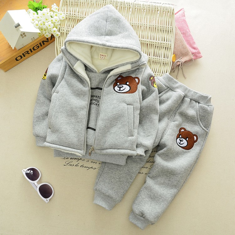 ФОТО 2016 New Kids Boys Girl Clothing Set Spring 3 Piece Sets Hooded Velvet Coat Suits Fall Cotton Baby Clothes 0-2Y