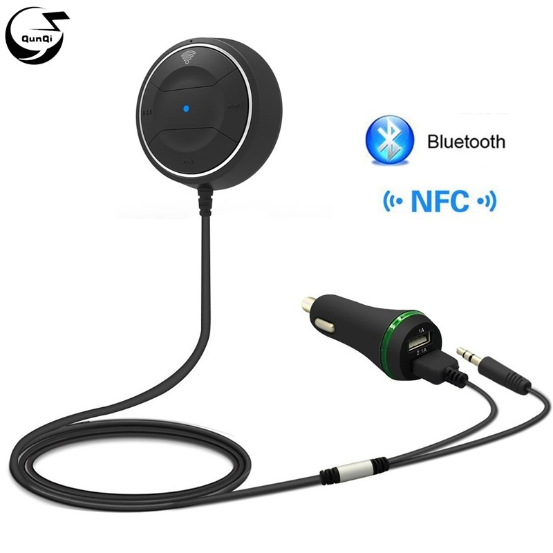 NFC Car Kit Bluetooth Aux 3.5mm 12V Dual USB Charger Handsfree Wireless Talking Audio Music