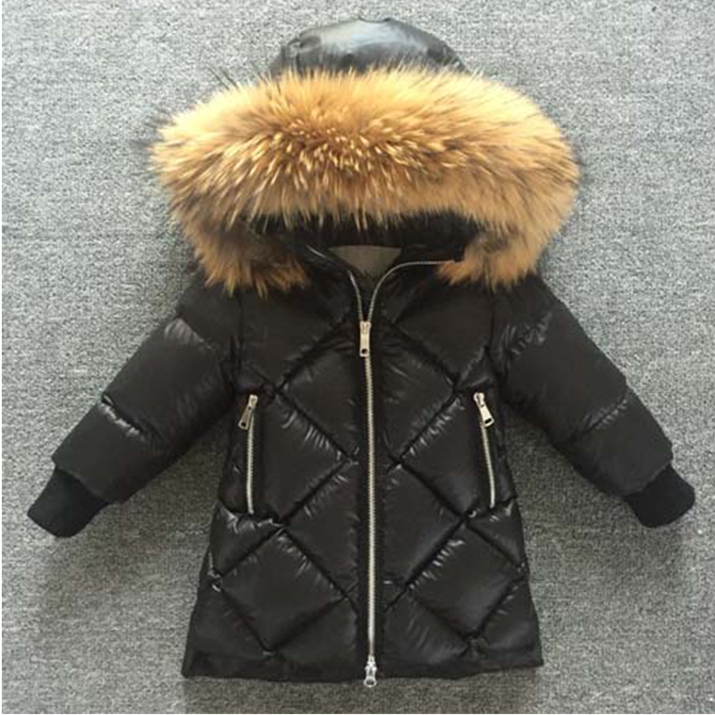 Children'S Down Jacket Winter Jacket For Girl Boys High Quality Kids Winter coats Warm Leopard fur collar Hooded Jacket 1-14Y