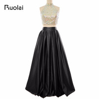 Sexy Real Picture Halter Top Bead Satin Two Pieces A Line Prom Dress Open Back Long Evening Dress Formal Party Dress FE6