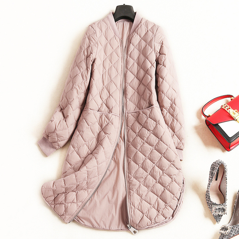 2018 new fashion women's down jacket winter new long-sleeved solid color leisure long outerwear coat