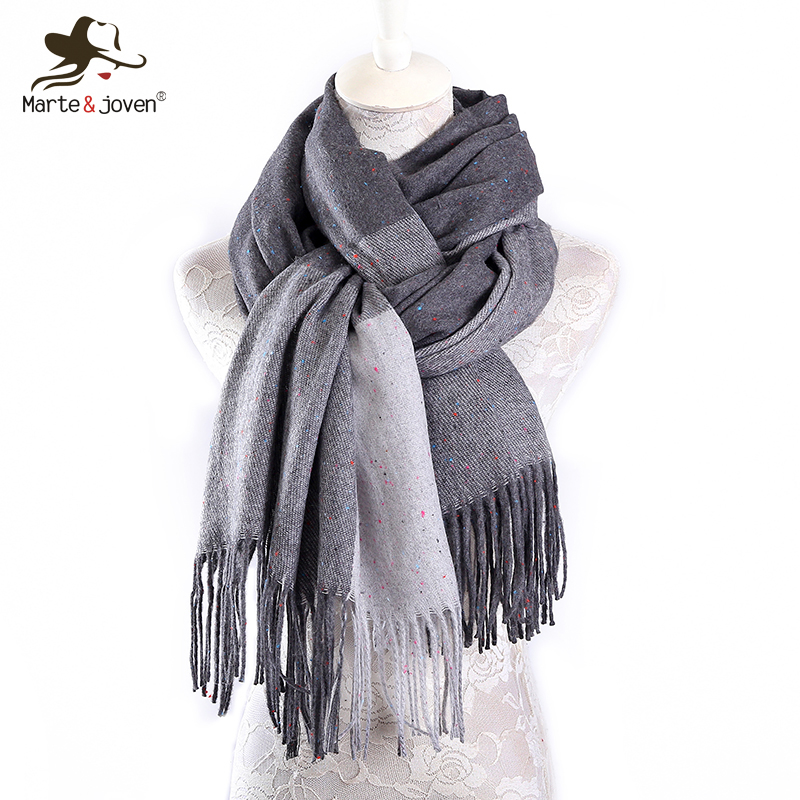 Marte&Joven Luxury Brand 2017 Thick Warm Imitation Cashmere Scarf for Women Winter Scarves Stoles Long Tassel Shawl Tippet Sjaal