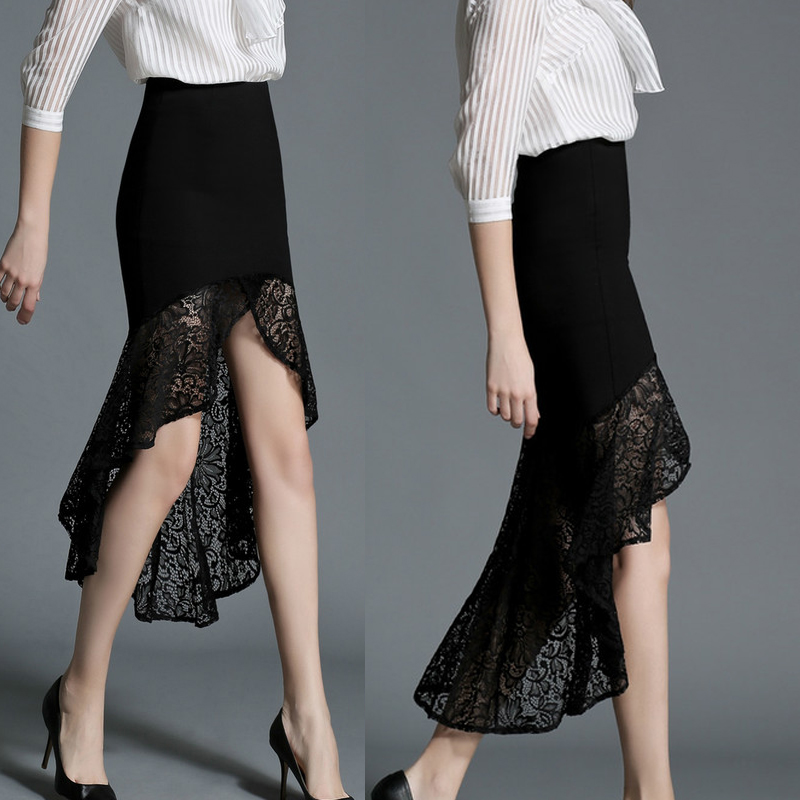 2017 Spring New Fashion Female Formal Elegant Ruffles Slim See-through Sheer High Waist OL Office Ladies Women's Lace Skirts