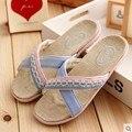 Chinelos Chinelos de Linho Casa de verão Casal Deslizamento Home Indoor Sandálias E Chinelos de Moda Feminina Verão Sapatos De Linho de Renda