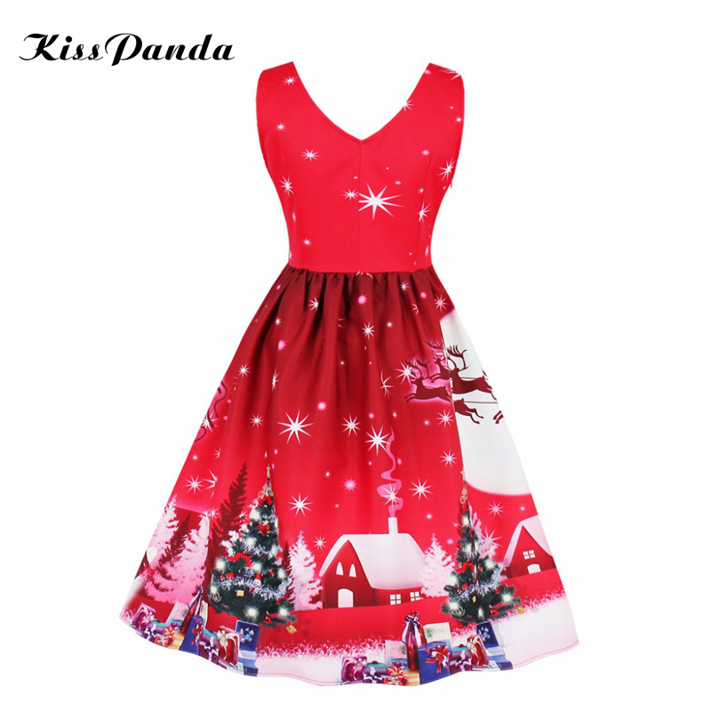 2017 chirstmas party vintage winter dress 1950s 60s new year dress plus size v neck deer snow ...