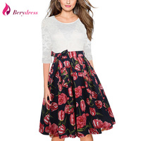 Berydress Elegant Women O Neck 3 4 Sleeve A Line Wedding Party Swing Dress Knee Length