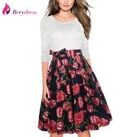 Berydress Elegant Women O Neck 3 4 Sleeve A Line Wedding Party Swing Dress Knee Length